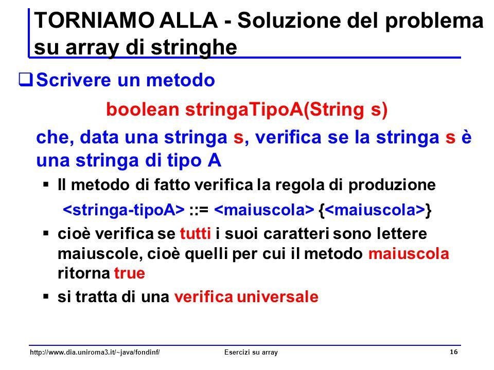 16 http://www.dia.uniroma3.it/~java/fondinf/Esercizi su array TORNIAMO ALLA - Soluzione del problema su array di stringhe  Scrivere un metodo boolean