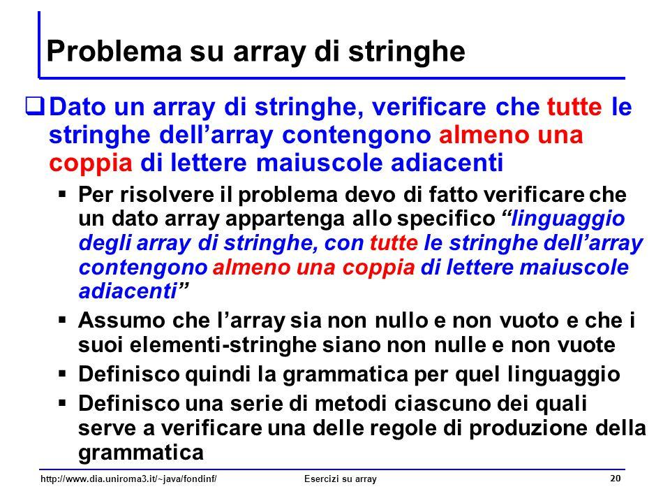 20 http://www.dia.uniroma3.it/~java/fondinf/Esercizi su array Problema su array di stringhe  Dato un array di stringhe, verificare che tutte le strin