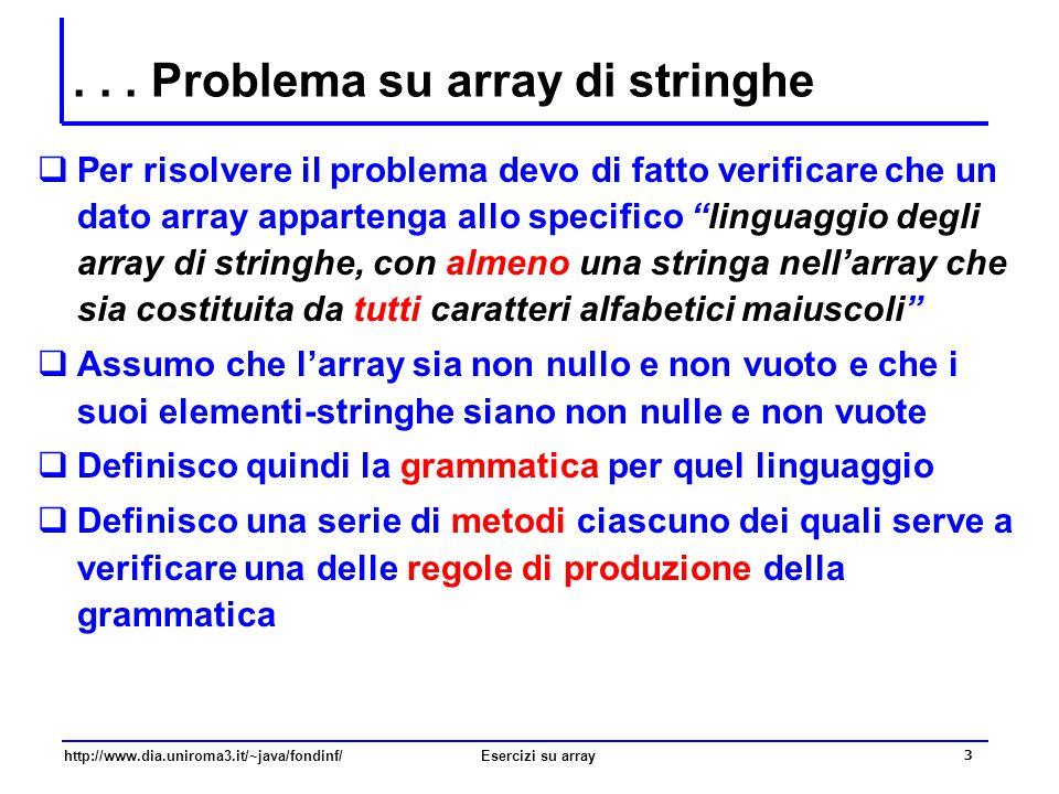 14 http://www.dia.uniroma3.it/~java/fondinf/Esercizi su array … RICORDIAMOCI - Verifica universale …  Un problema di verifica universale può essere sempre ricondotto a un problema di verifica esistenziale  il problema diventa quello di verificare se non esiste alcun elemento della sequenza che non soddisfa la proprietà  inizialmente si assegna alla variabile booleana un valore che indica convenzionalmente che tutti gli elementi della sequenza soddisfano la proprietà (true)  per ogni elemento della sequenza, si verifica se l'elemento corrente non soddisfa la proprietà se l'elemento corrente non soddisfa la proprietà, allora si assegna alla variabile booleana un valore che indica convenzionalmente che non tutti gli elementi della sequenza soddisfano la proprietà (false)