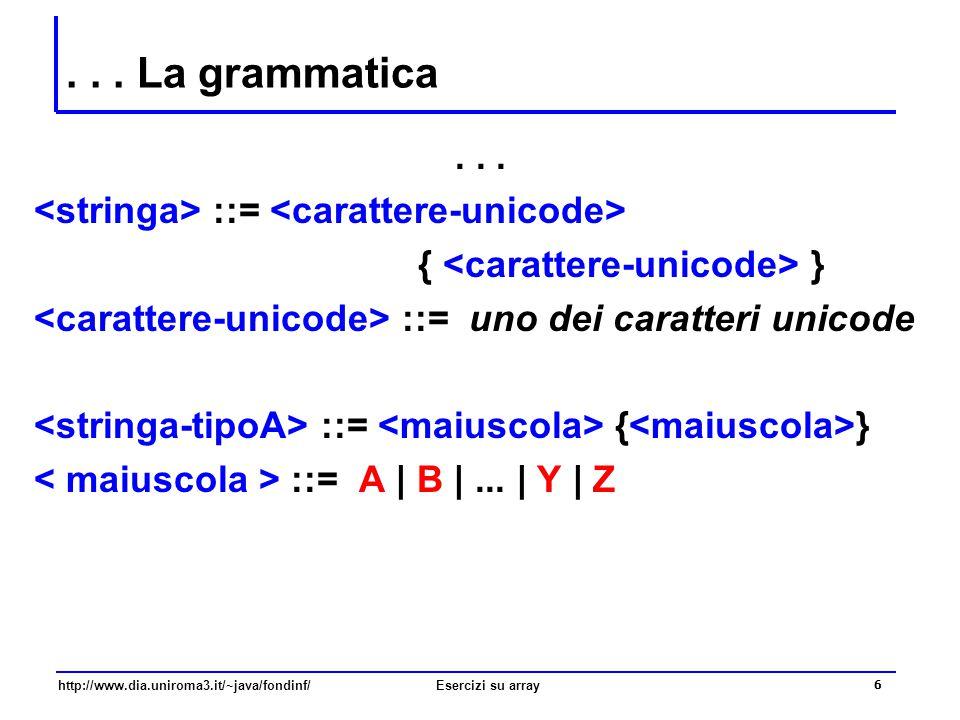 17 http://www.dia.uniroma3.it/~java/fondinf/Esercizi su array Il metodo stringaTipoA public static boolean stringaTipoA(String s) { int i; boolean tutteMaiuscole; /* verifica universale: inizialmente la variabile booleana è vera finché non trovo un elemento della sequenza che non soddisfa la proprietà richiesta */ tutteMaiuscole = true; i = 0; while (tutteMaiuscole && i<s.length() ) { if (!(maiuscola(s.charAt(i)) ) tutteMaiuscole = false; i++; } return tutteMaiuscole; }