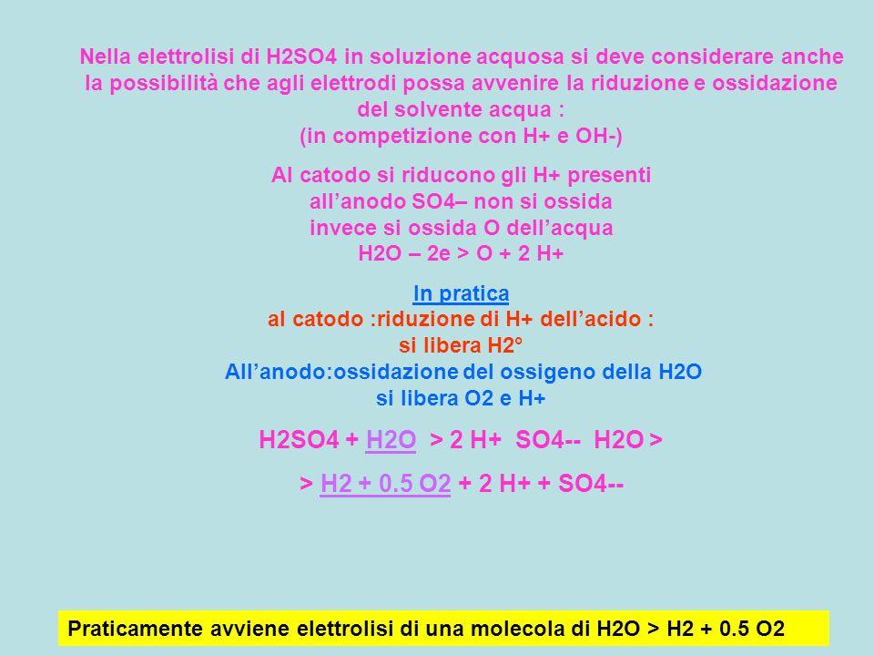 Nella elettrolisi di H2SO4 in soluzione acquosa si deve considerare anche la possibilità che agli elettrodi possa avvenire la riduzione e ossidazione