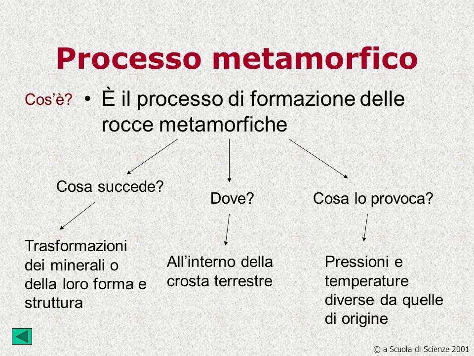 Processo metamorfico È il processo di formazione delle rocce metamorfiche Cosa succede? Dove?Cosa lo provoca? Trasformazioni dei minerali o della loro