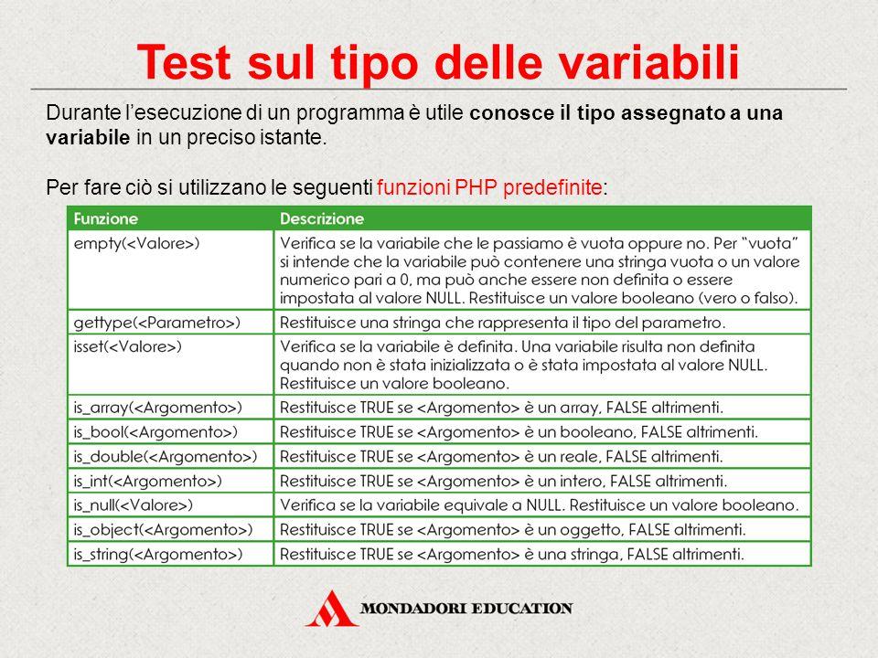 Test sul tipo delle variabili Durante l'esecuzione di un programma è utile conosce il tipo assegnato a una variabile in un preciso istante.