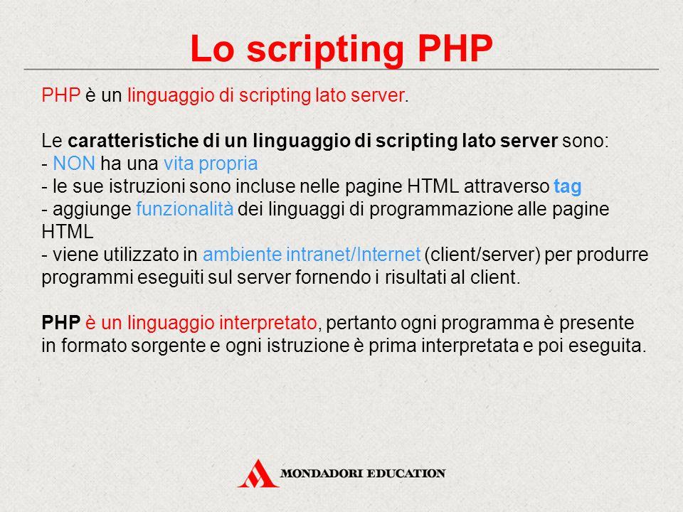 Lo scripting PHP PHP è un linguaggio di scripting lato server.