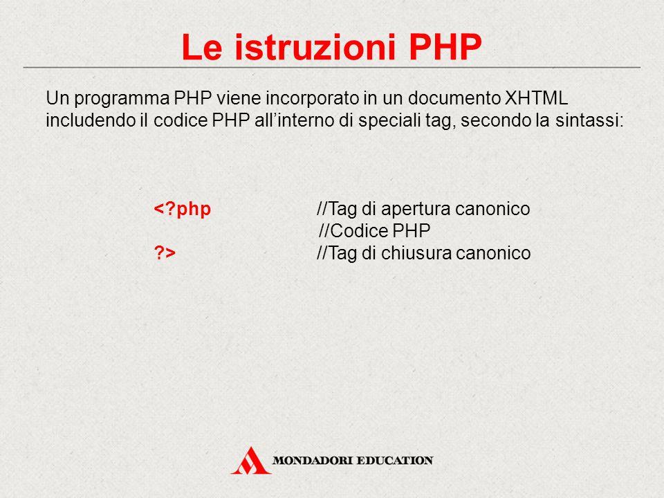 Le istruzioni PHP Un programma PHP viene incorporato in un documento XHTML includendo il codice PHP all'interno di speciali tag, secondo la sintassi: < php//Tag di apertura canonico //Codice PHP >//Tag di chiusura canonico