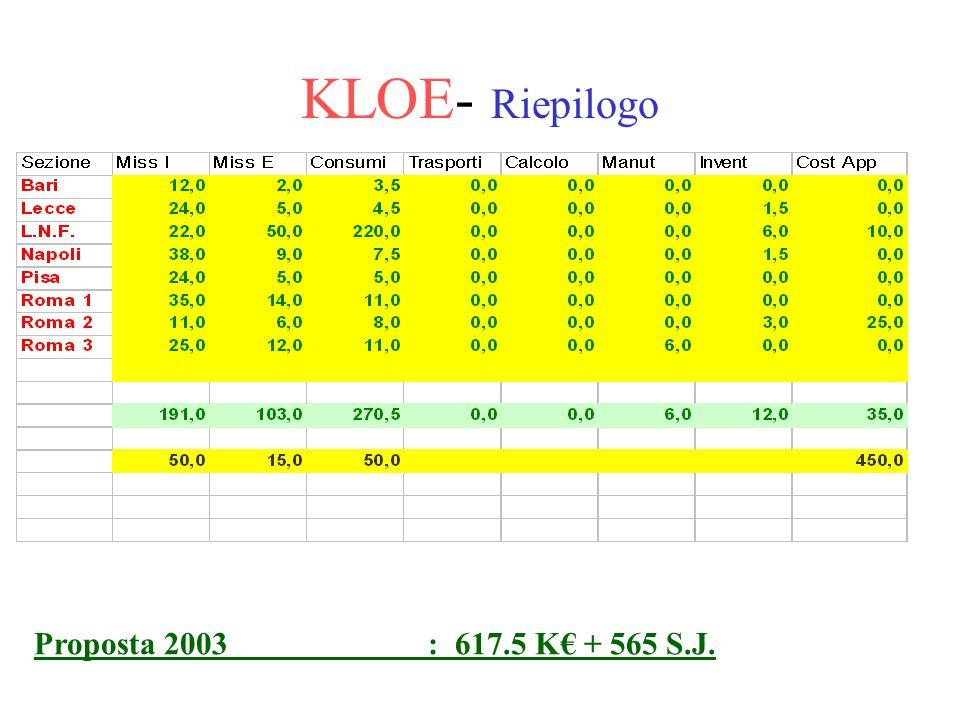 KLOE- Riepilogo Proposta 2003 : 617.5 K€ + 565 S.J.
