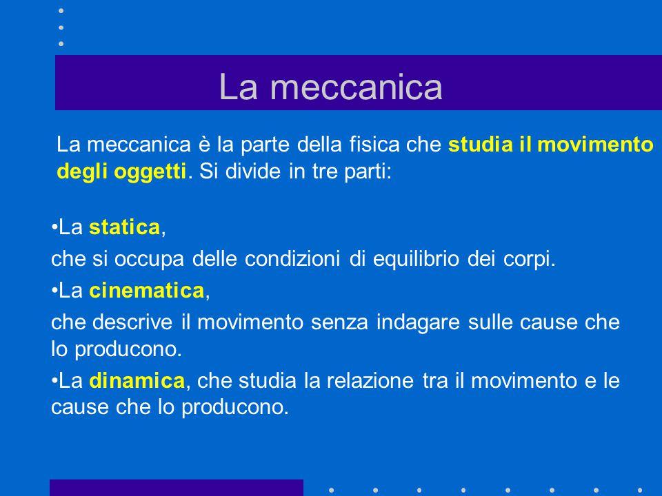 La meccanica è la parte della fisica che studia il movimento degli oggetti. Si divide in tre parti: La meccanica La statica, che si occupa delle condi