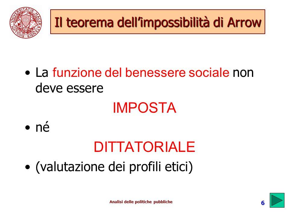 Analisi delle politiche pubbliche 6 Il teorema dell'impossibilità di Arrow La funzione del benessere sociale non deve essere IMPOSTA né DITTATORIALE (