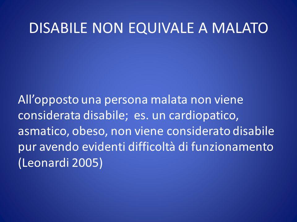DISABILE NON EQUIVALE A MALATO All'opposto una persona malata non viene considerata disabile; es. un cardiopatico, asmatico, obeso, non viene consider