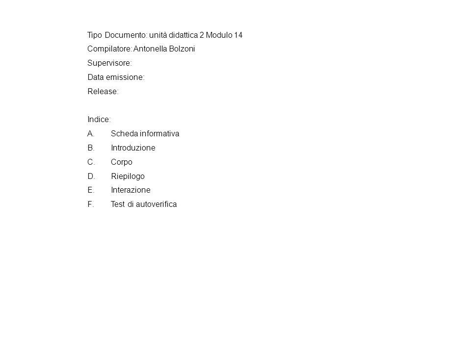 Tipo Documento: unità didattica 2 Modulo 14 Compilatore: Antonella Bolzoni Supervisore: Data emissione: Release: Indice: A.Scheda informativa B.Introduzione C.Corpo D.Riepilogo E.Interazione F.Test di autoverifica