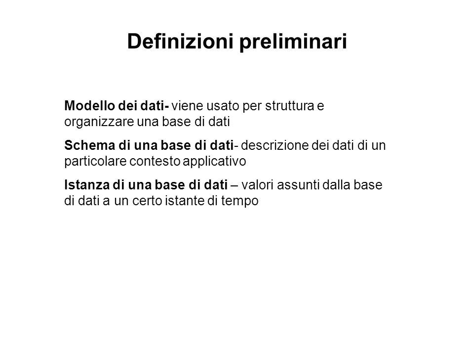 Definizioni preliminari Modello dei dati- viene usato per struttura e organizzare una base di dati Schema di una base di dati- descrizione dei dati di un particolare contesto applicativo Istanza di una base di dati – valori assunti dalla base di dati a un certo istante di tempo