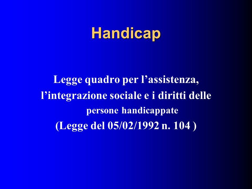 Handicap Legge quadro per l'assistenza, l'integrazione sociale e i diritti delle persone handicappate (Legge del 05/02/1992 n.