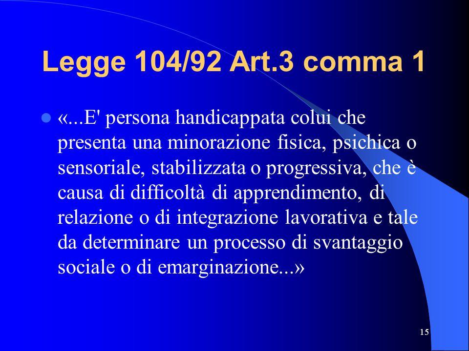 Legge 104/92 Art.3 comma 1 «...E persona handicappata colui che presenta una minorazione fisica, psichica o sensoriale, stabilizzata o progressiva, che è causa di difficoltà di apprendimento, di relazione o di integrazione lavorativa e tale da determinare un processo di svantaggio sociale o di emarginazione...» 15