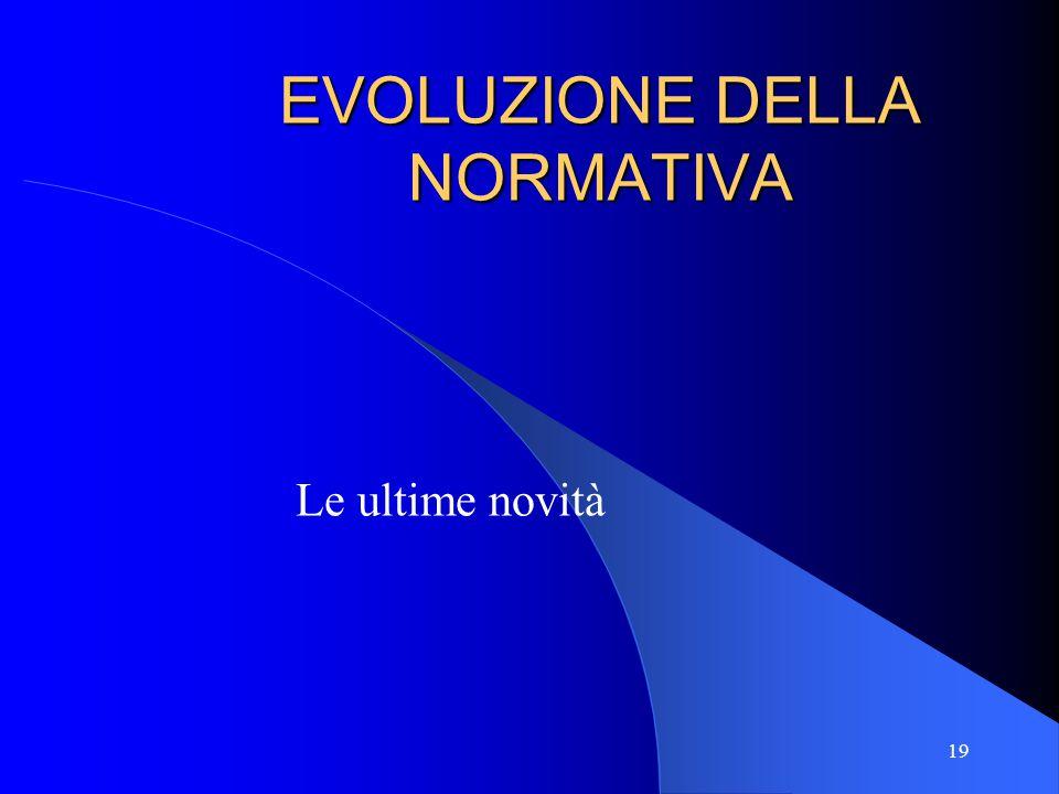 EVOLUZIONE DELLA NORMATIVA Le ultime novità 19