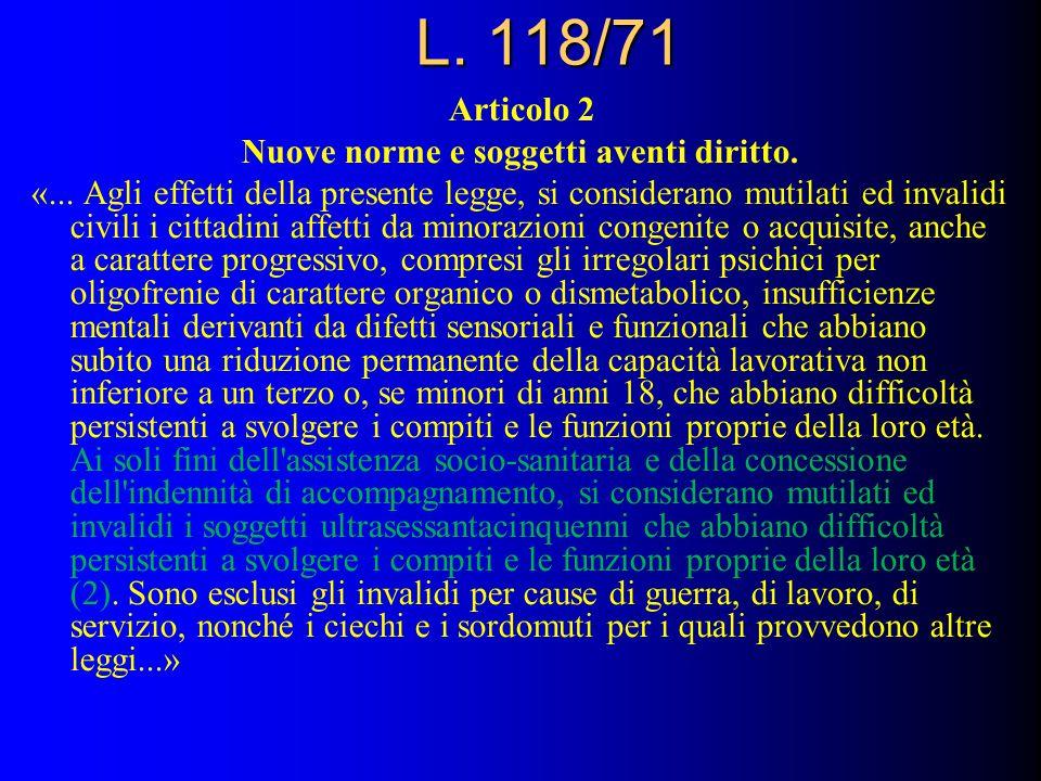 L.118/71 Articolo 2 Nuove norme e soggetti aventi diritto.