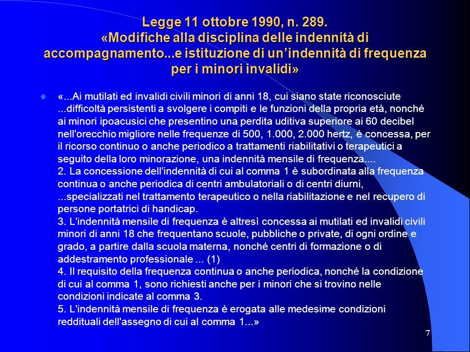 Legge 11 ottobre 1990, n.289.