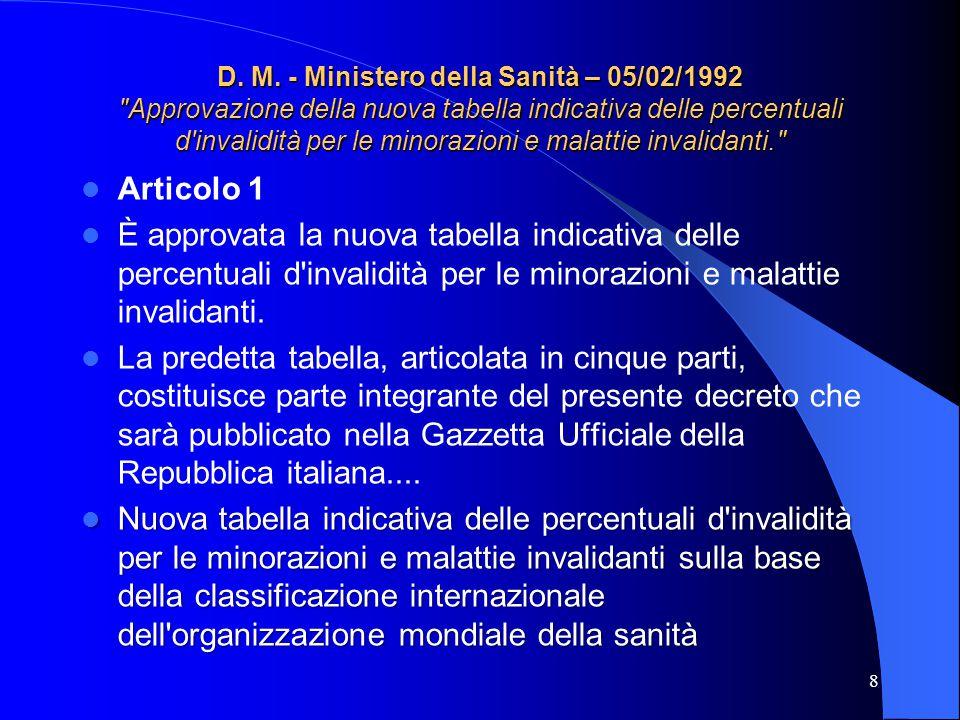 D. M. - Ministero della Sanità – 05/02/1992