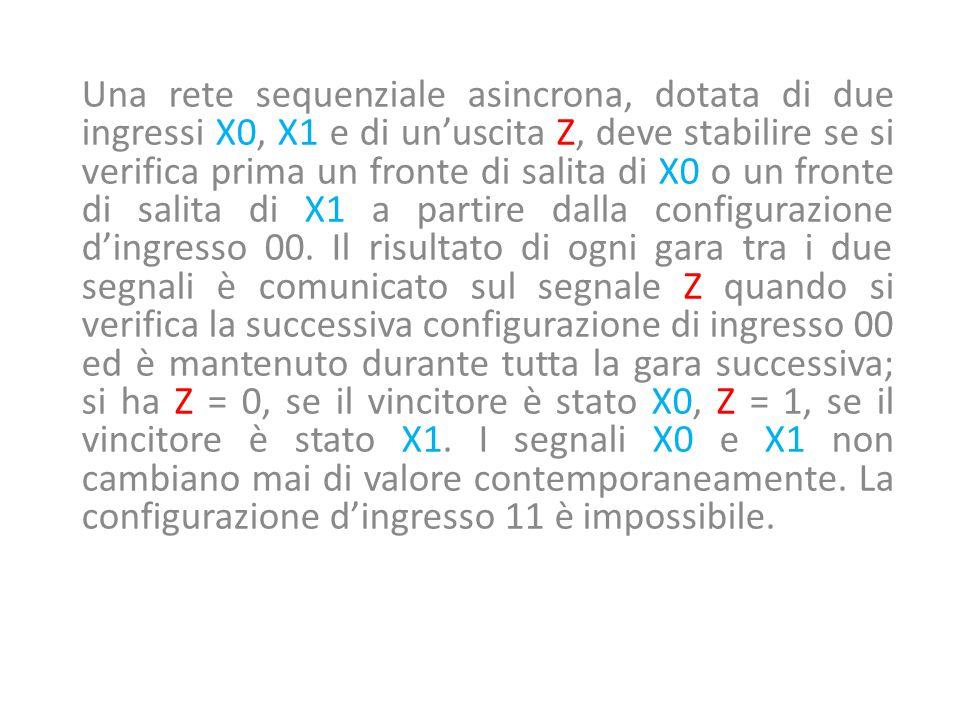 Una rete sequenziale asincrona, dotata di due ingressi X0, X1 e di un'uscita Z, deve stabilire se si verifica prima un fronte di salita di X0 o un fronte di salita di X1 a partire dalla configurazione d'ingresso 00.