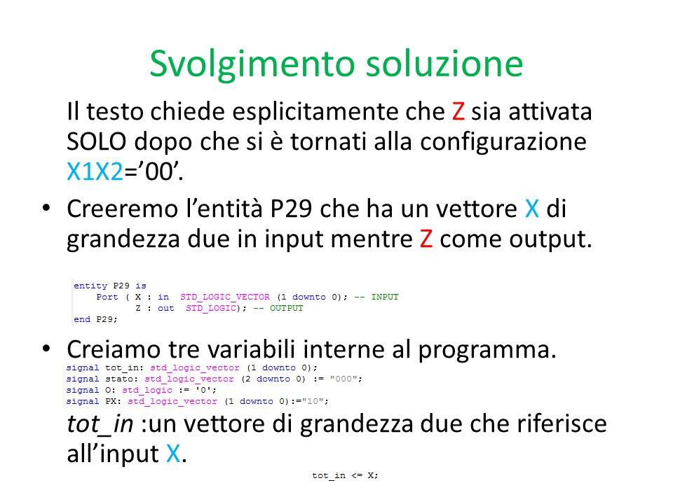 Svolgimento soluzione Il testo chiede esplicitamente che Z sia attivata SOLO dopo che si è tornati alla configurazione X1X2='00'.