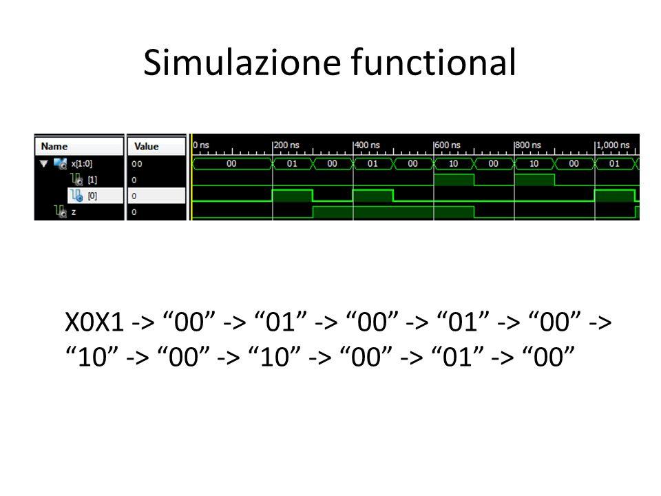 Simulazione functional X0X1 -> 00 -> 01 -> 00 -> 01 -> 00 -> 10 -> 00 -> 10 -> 00 -> 01 -> 00