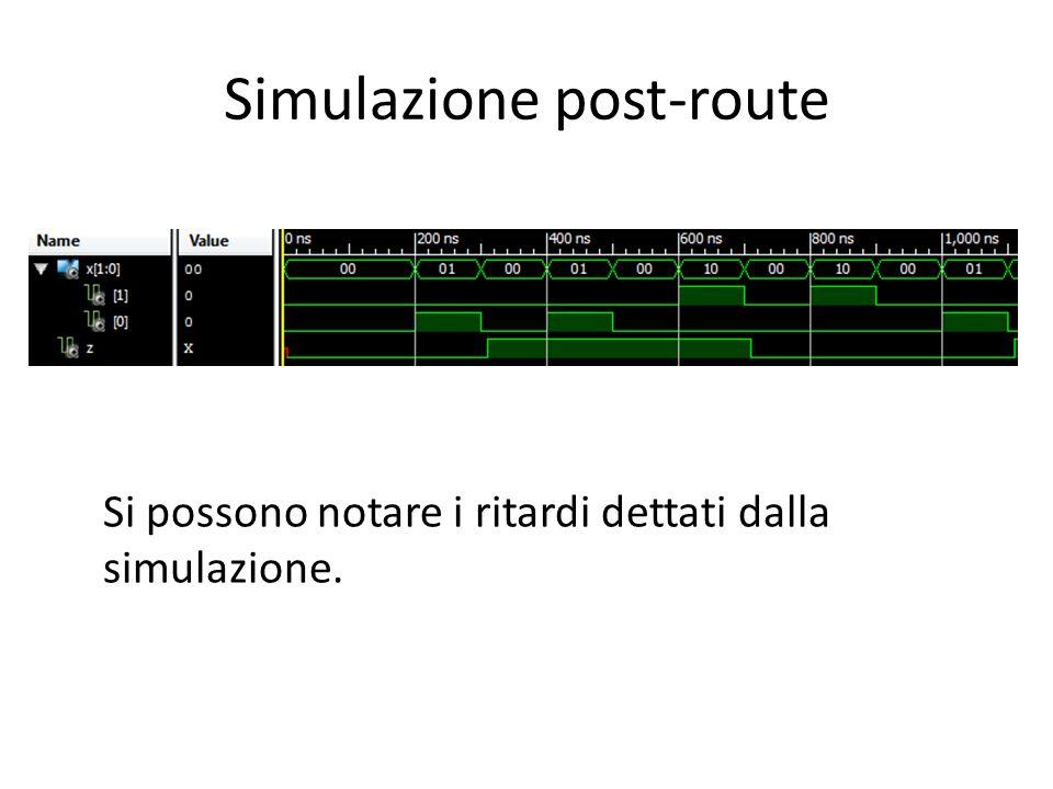 Simulazione post-route Si possono notare i ritardi dettati dalla simulazione.