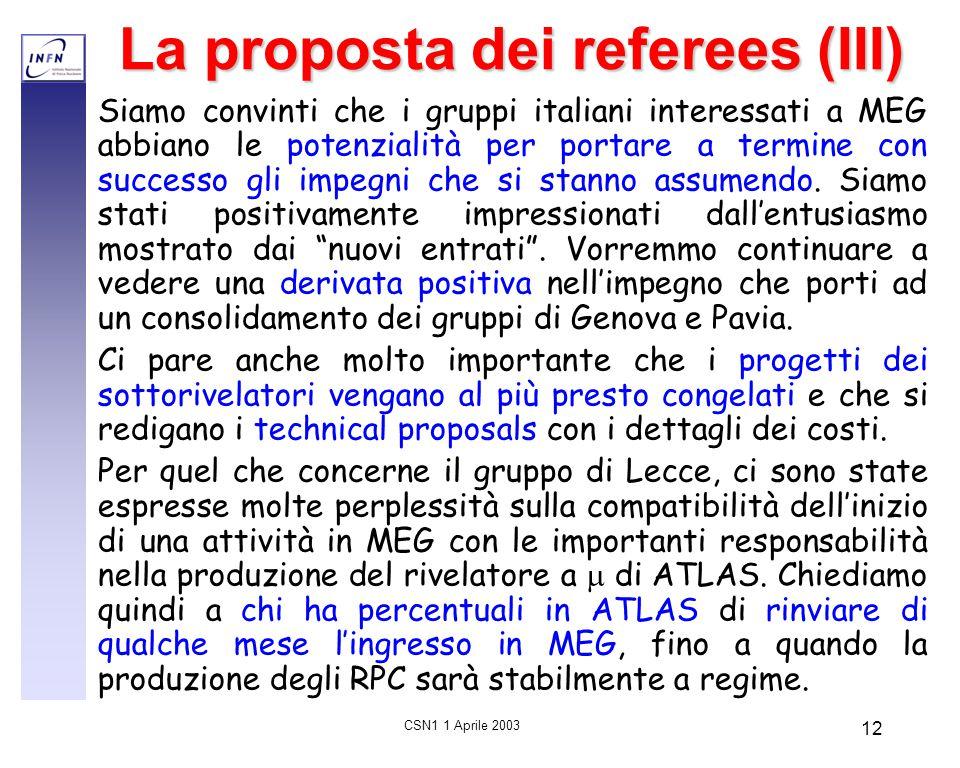 CSN1 1 Aprile 2003 12 La proposta dei referees (III) Siamo convinti che i gruppi italiani interessati a MEG abbiano le potenzialità per portare a term