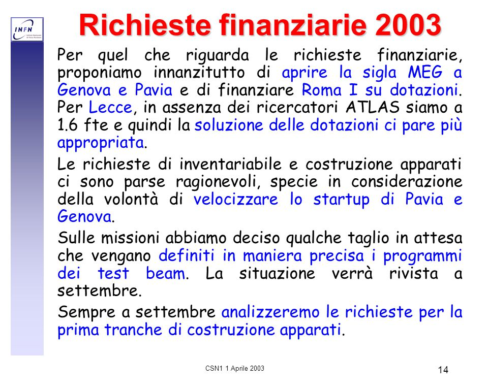 CSN1 1 Aprile 2003 14 Richieste finanziarie 2003 Per quel che riguarda le richieste finanziarie, proponiamo innanzitutto di aprire la sigla MEG a Geno