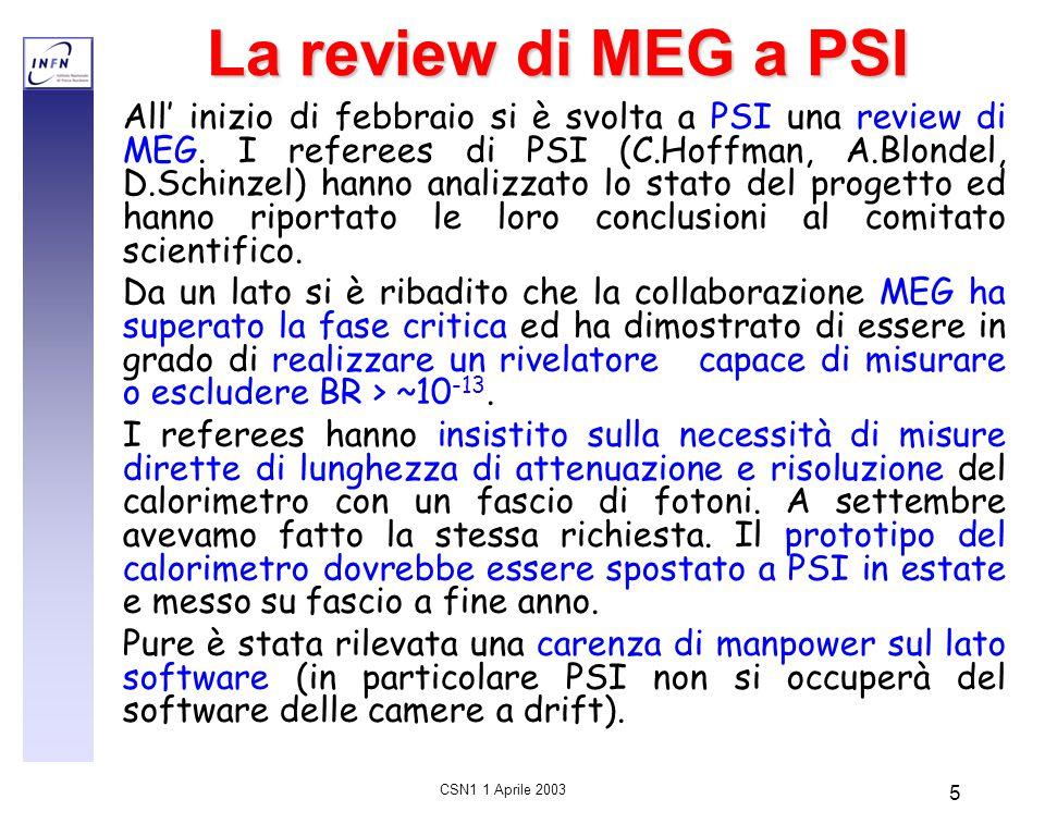 CSN1 1 Aprile 2003 5 La review di MEG a PSI All' inizio di febbraio si è svolta a PSI una review di MEG. I referees di PSI (C.Hoffman, A.Blondel, D.Sc