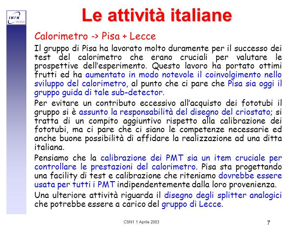 CSN1 1 Aprile 2003 7 Le attività italiane Calorimetro -> Pisa + Lecce Il gruppo di Pisa ha lavorato molto duramente per il successo dei test del calor