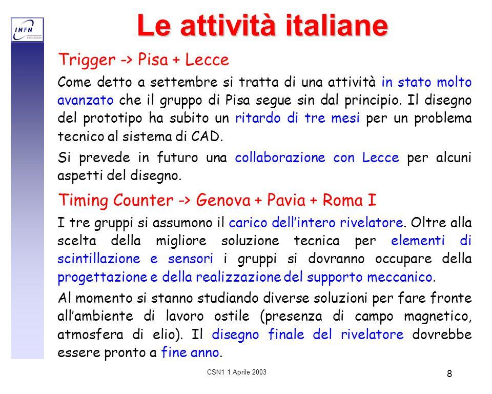 CSN1 1 Aprile 2003 8 Le attività italiane Trigger -> Pisa + Lecce Come detto a settembre si tratta di una attività in stato molto avanzato che il grup