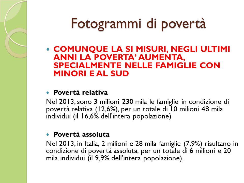 Fotogrammi di povertà COMUNQUE LA SI MISURI, NEGLI ULTIMI ANNI LA POVERTA' AUMENTA, SPECIALMENTE NELLE FAMIGLIE CON MINORI E AL SUD Povertà relativa Nel 2013, sono 3 milioni 230 mila le famiglie in condizione di povertà relativa (12,6%), per un totale di 10 milioni 48 mila individui (il 16,6% dell'intera popolazione) Povertà assoluta Nel 2013, in Italia, 2 milioni e 28 mila famiglie (7,9%) risultano in condizione di povertà assoluta, per un totale di 6 milioni e 20 mila individui (il 9,9% dell'intera popolazione).