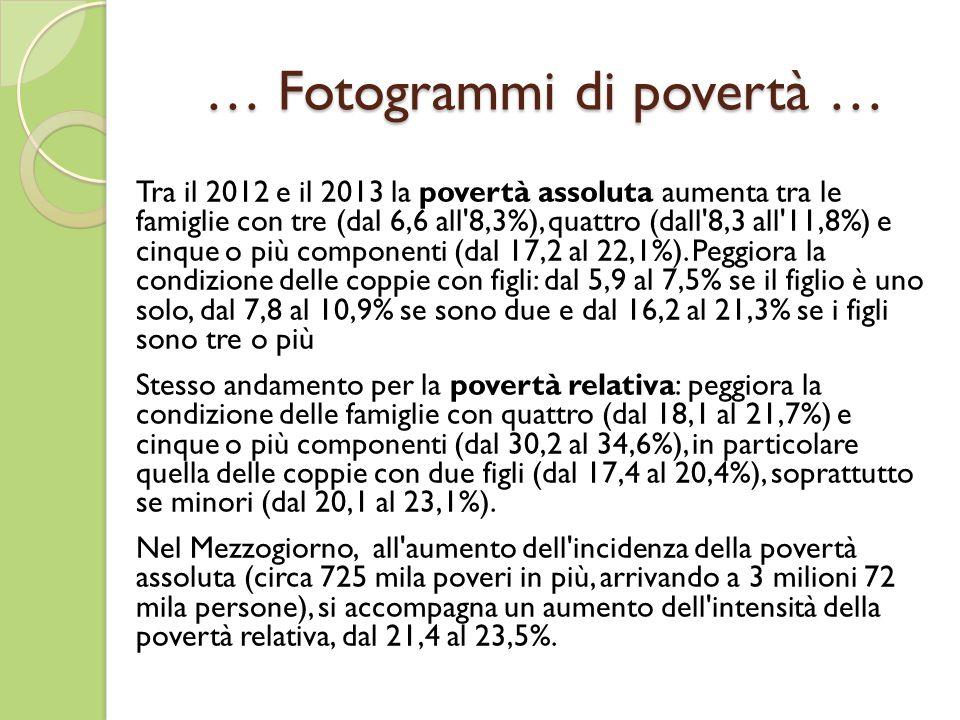 … Fotogrammi di povertà … Tra il 2012 e il 2013 la povertà assoluta aumenta tra le famiglie con tre (dal 6,6 all 8,3%), quattro (dall 8,3 all 11,8%) e cinque o più componenti (dal 17,2 al 22,1%).