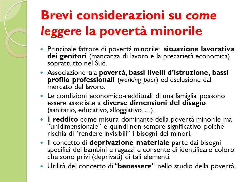Brevi considerazioni su come leggere la povertà minorile Principale fattore di povertà minorile: situazione lavorativa dei genitori (mancanza di lavoro e la precarietà economica) soprattutto nel Sud.