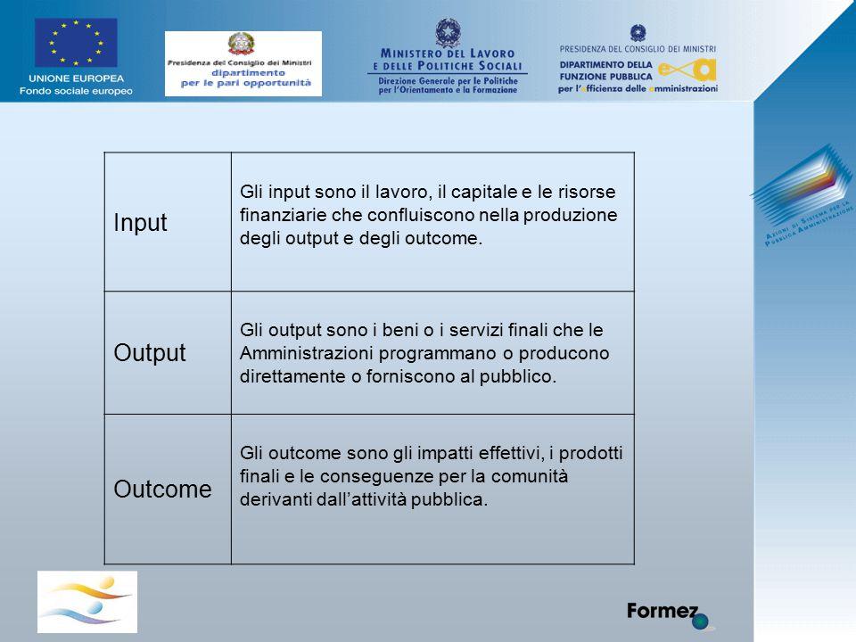 Input Gli input sono il lavoro, il capitale e le risorse finanziarie che confluiscono nella produzione degli output e degli outcome. Output Gli output