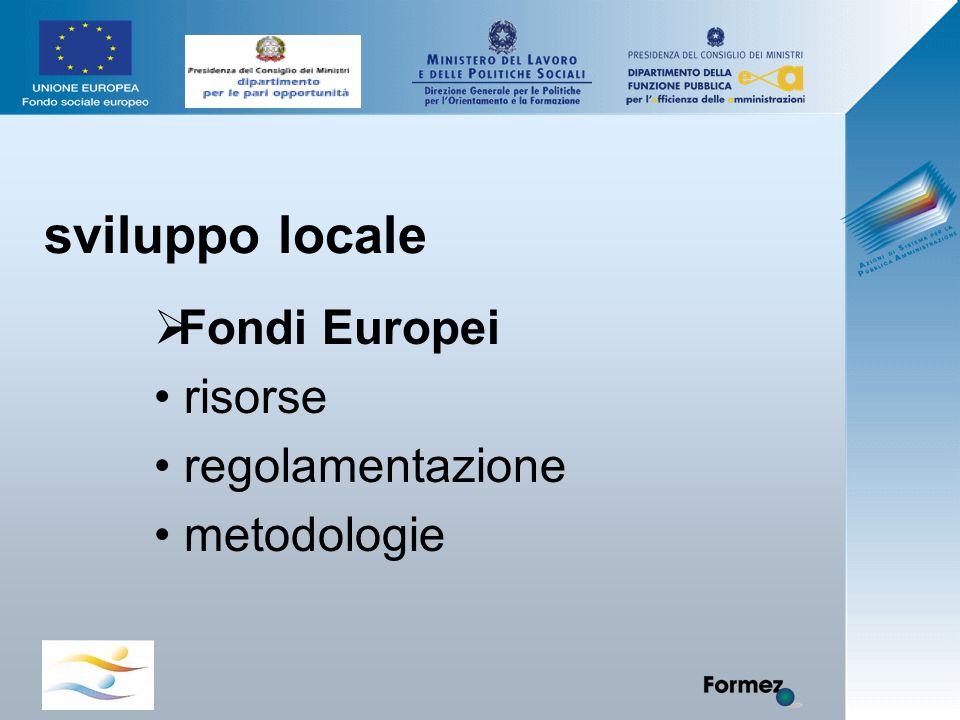 sviluppo locale  Fondi Europei risorse regolamentazione metodologie