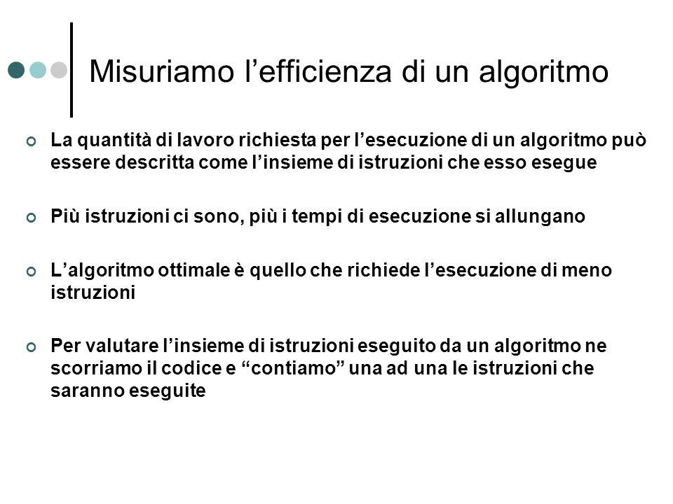 Misuriamo l'efficienza di un algoritmo La quantità di lavoro richiesta per l'esecuzione di un algoritmo può essere descritta come l'insieme di istruzi