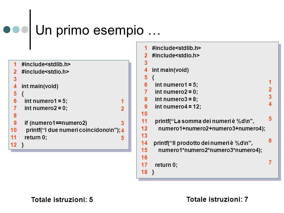 """Un primo esempio … #include int main(void) { int numero1 = 5; int numero2 = 0; if (numero1==numero2) printf(""""I due numeri coincidono\n"""