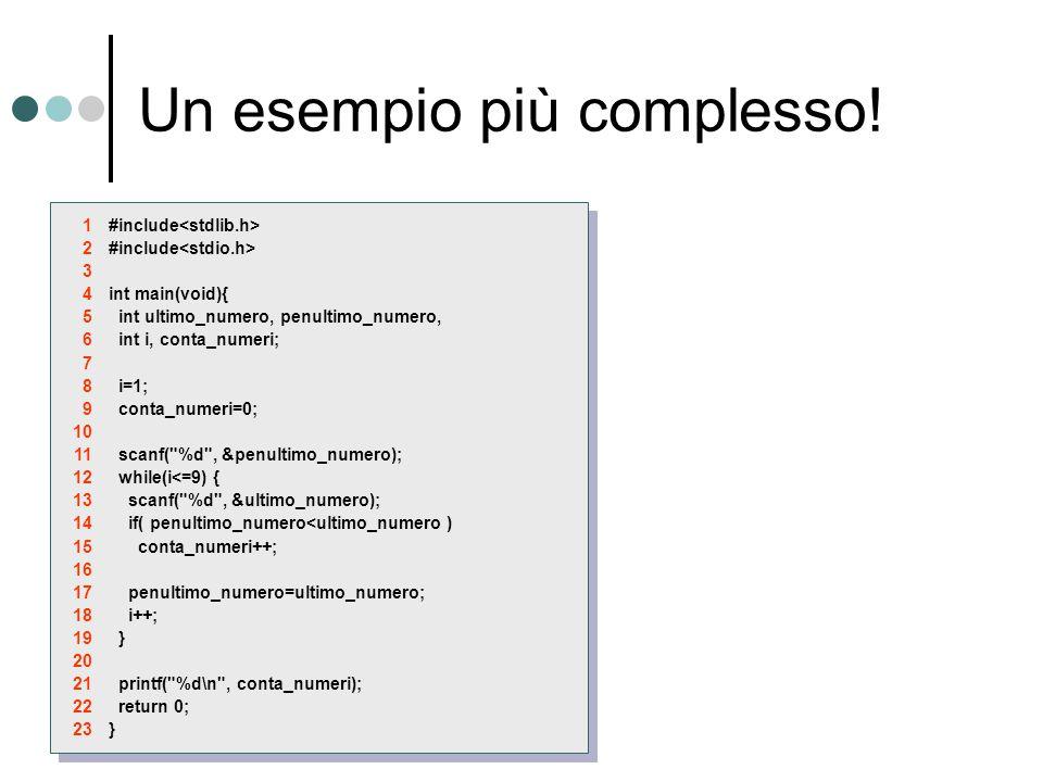 Un esempio più complesso! #include int main(void){ int ultimo_numero, penultimo_numero, int i, conta_numeri; i=1; conta_numeri=0; scanf(