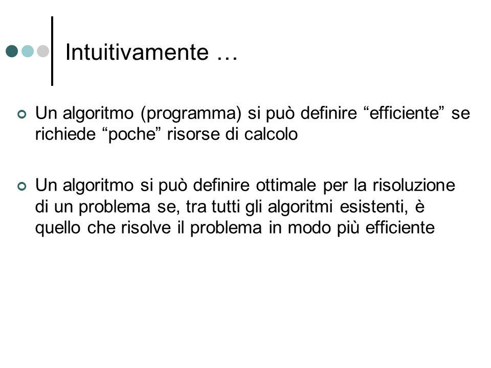 """Intuitivamente … Un algoritmo (programma) si può definire """"efficiente"""" se richiede """"poche"""" risorse di calcolo Un algoritmo si può definire ottimale pe"""