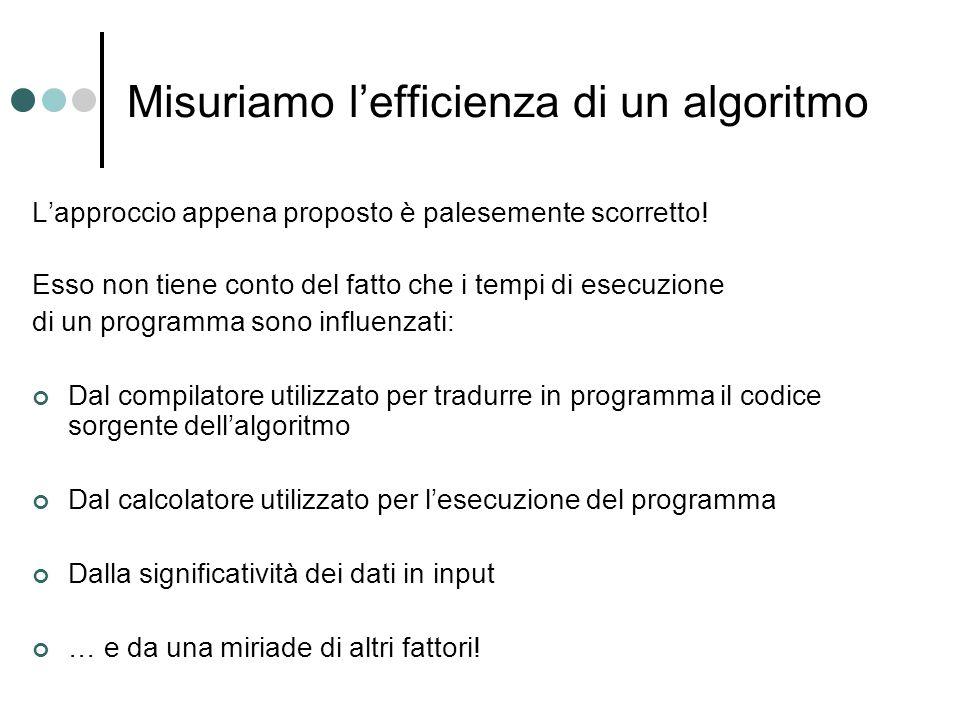 Misuriamo l'efficienza di un algoritmo L'approccio appena proposto è palesemente scorretto! Esso non tiene conto del fatto che i tempi di esecuzione d