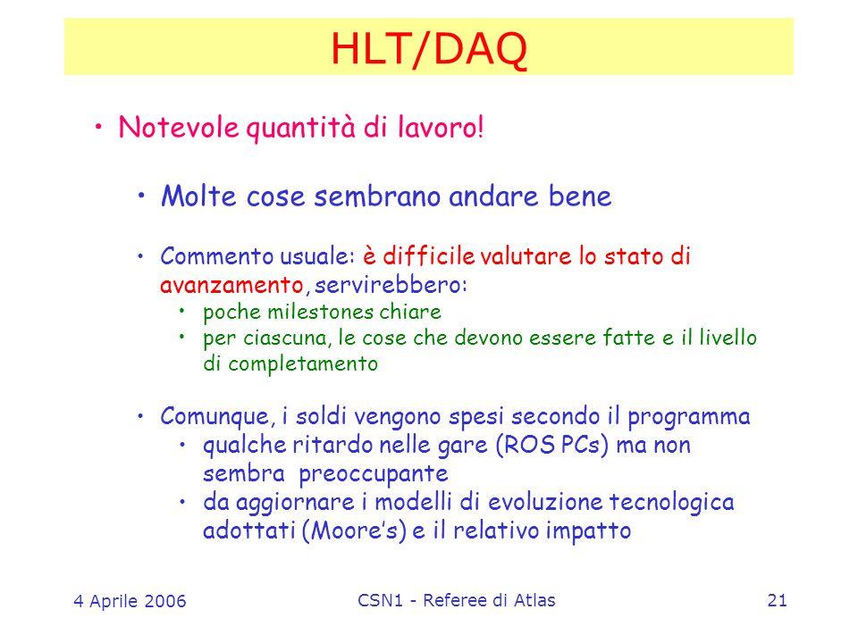 4 Aprile 2006 CSN1 - Referee di Atlas21 HLT/DAQ Notevole quantità di lavoro.