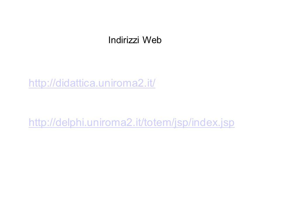 http://didattica.uniroma2.it/ http://delphi.uniroma2.it/totem/jsp/index.jsp Indirizzi Web