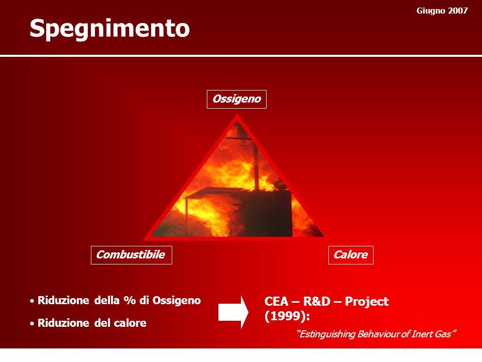 Spegnimento Giugno 2007 Ossigeno CaloreCombustibile Riduzione della % di Ossigeno Riduzione del calore CEA – R&D – Project (1999): Estinguishing Behaviour of Inert Gas