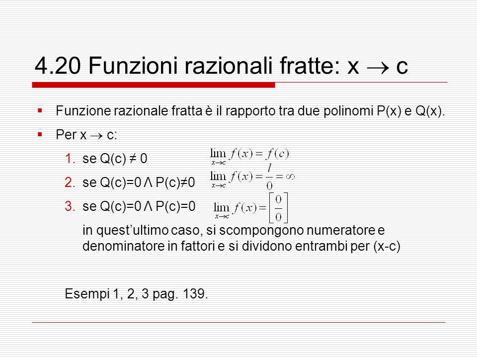 4.20 Funzioni razionali fratte: x  c  Funzione razionale fratta è il rapporto tra due polinomi P(x) e Q(x).  Per x  c: 1.se Q(c) ≠ 0 2.se Q(c)=0 Λ