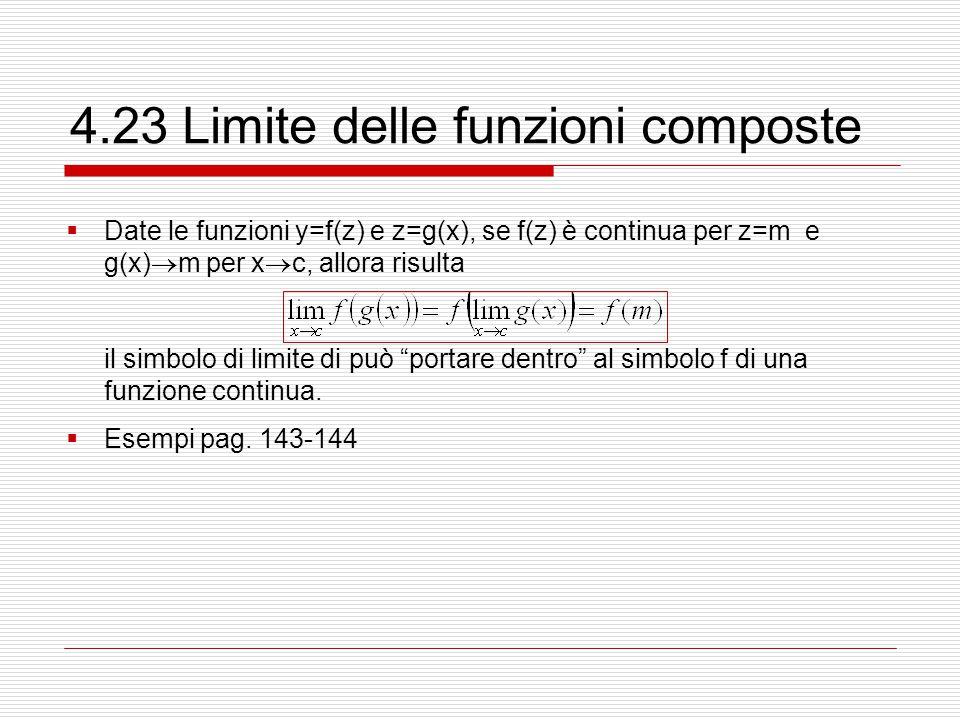 4.23 Limite delle funzioni composte  Date le funzioni y=f(z) e z=g(x), se f(z) è continua per z=m e g(x)  m per x  c, allora risulta il simbolo di limite di può portare dentro al simbolo f di una funzione continua.