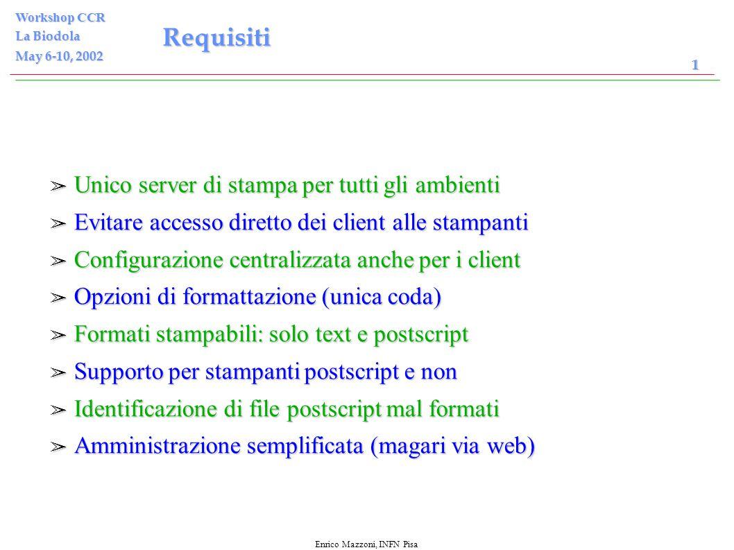 Enrico Mazzoni, INFN Pisa Workshop CCR La Biodola May 6-10, 2002 1 Sistema di Stampa INFN Sezione di Pisa Presentato da Enrico Mazzoni, INFN Pisa per il Servizio Calcolo e Reti