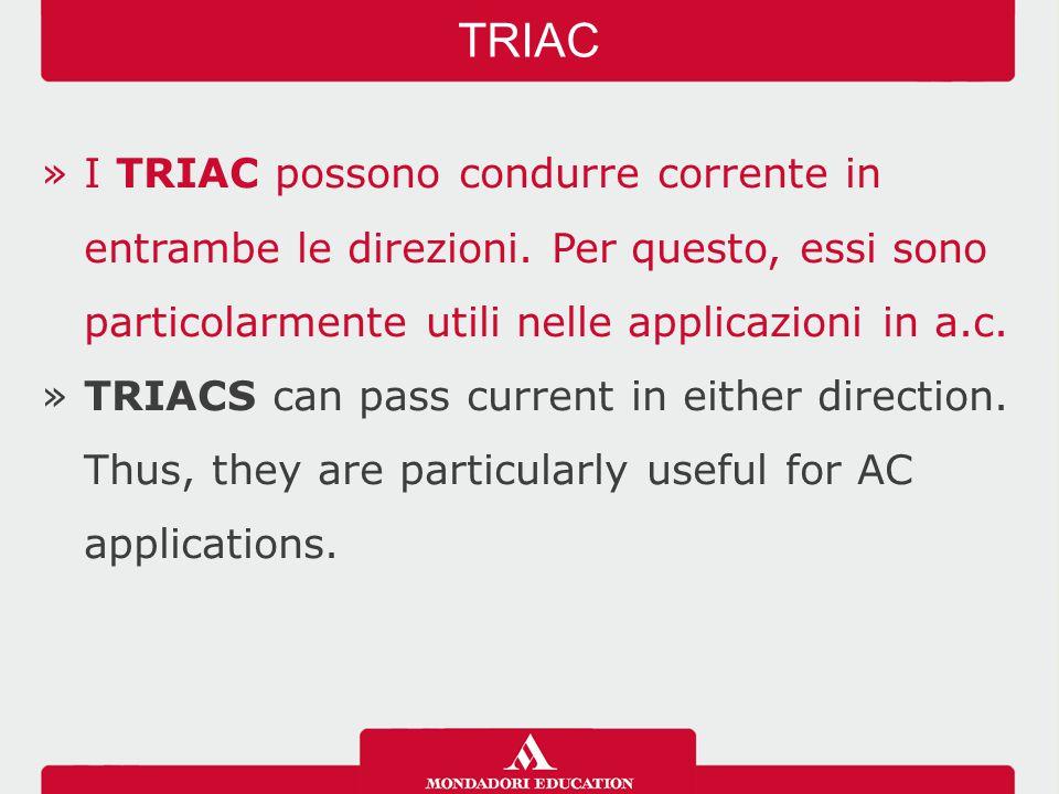 »I TRIAC possono condurre corrente in entrambe le direzioni.