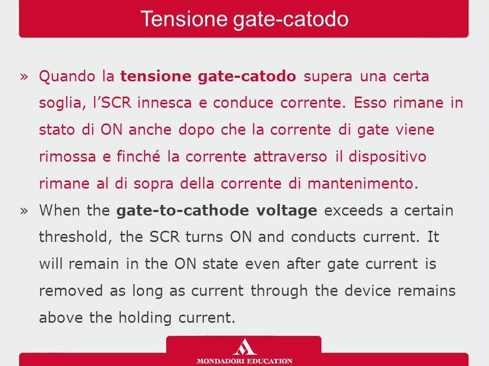 »I metodi per l'accensione di un SCR sono: -innesco per tensione diretta; -innesco di gate; -innesco per dv/dt; -innesco mediante temperatura; -innesco mediante luce.