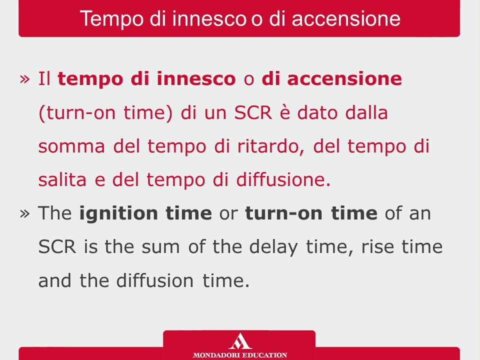 »Il tempo di innesco o di accensione (turn-on time) di un SCR è dato dalla somma del tempo di ritardo, del tempo di salita e del tempo di diffusione.