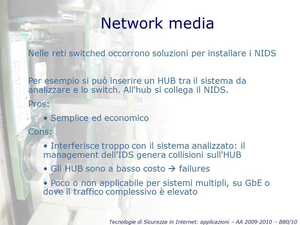 Tecnologie di Sicurezza in Internet: applicazioni – AA 2009-2010 – B80/10 Network media Per esempio si può inserire un HUB tra il sistema da analizzare e lo switch.